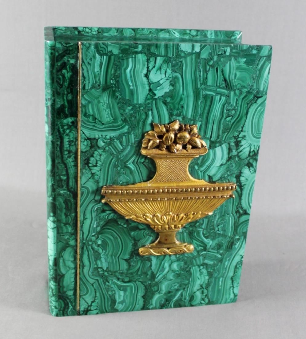 A RUSSIAN MALACHITE AND DORE BRONZE BOOK SHAPED BOX