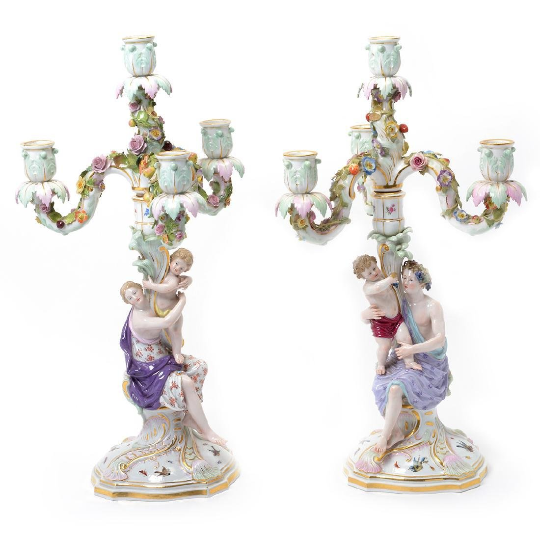Pair of 19th C. Meissen Figural Three Light Candelabra