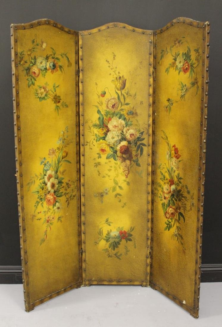 3 PANEL VICTORIAN LEATHER SCREEN