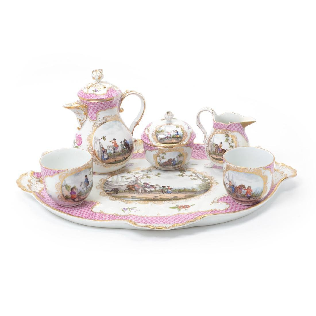 Meissen Six Piece Porcelain Tea Service including Tray