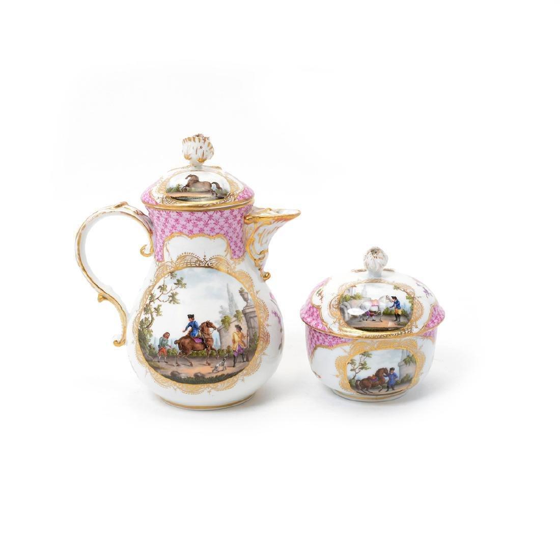 Meissen Six Piece Porcelain Tea Service including Tray - 3