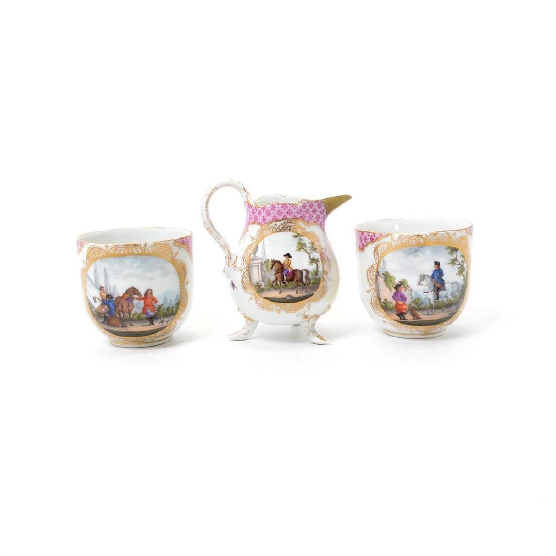 Meissen Six Piece Porcelain Tea Service including Tray - 4