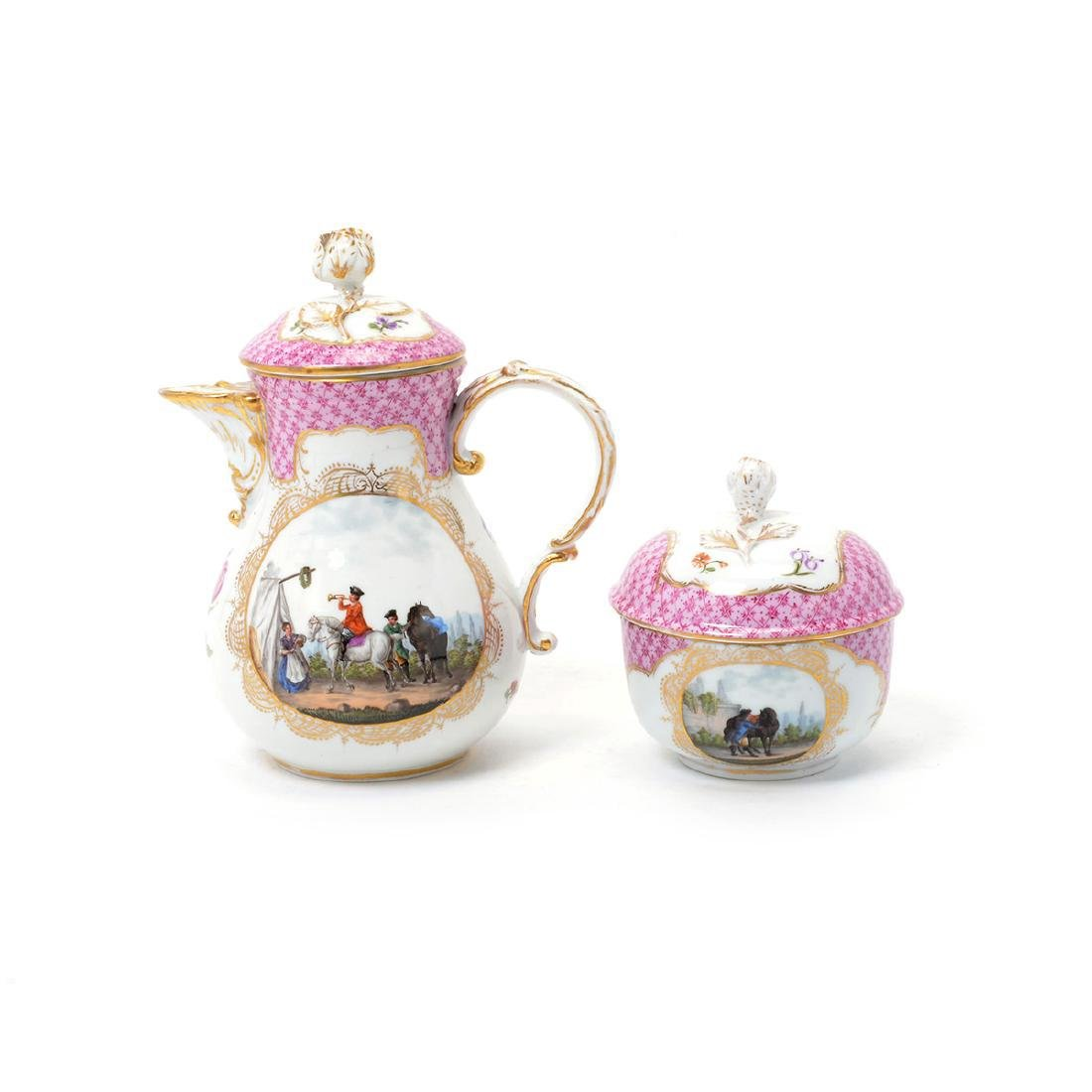Meissen Six Piece Porcelain Tea Service including Tray - 8
