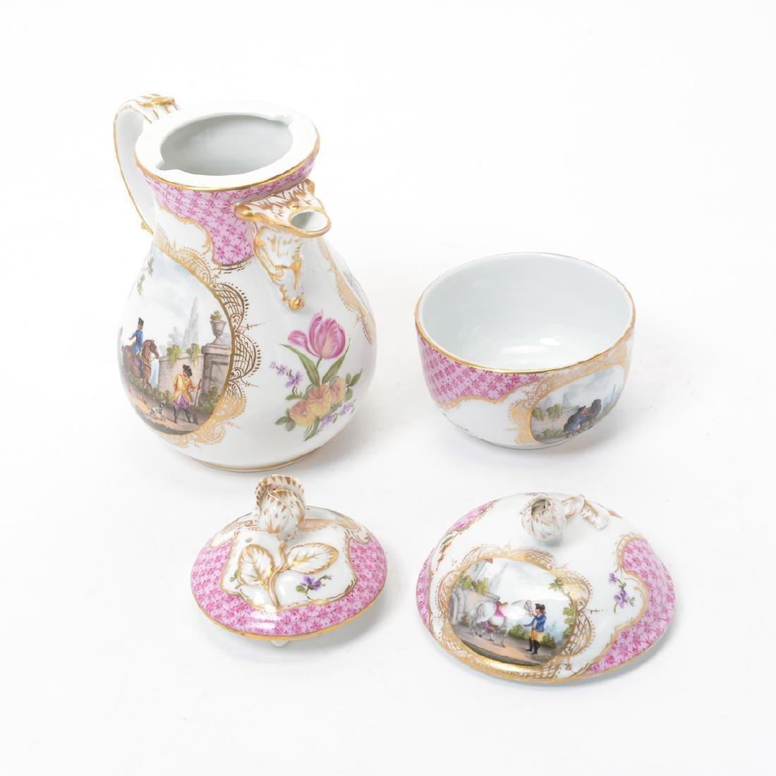 Meissen Six Piece Porcelain Tea Service including Tray - 9