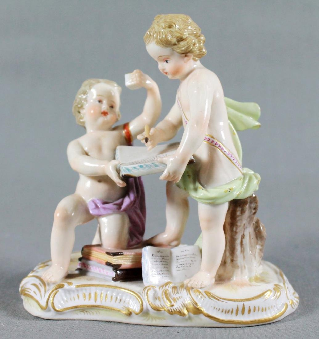 ANTIQUE MEISSEN SAXONY FIGURE OF BOYS WRITING ON BOOK