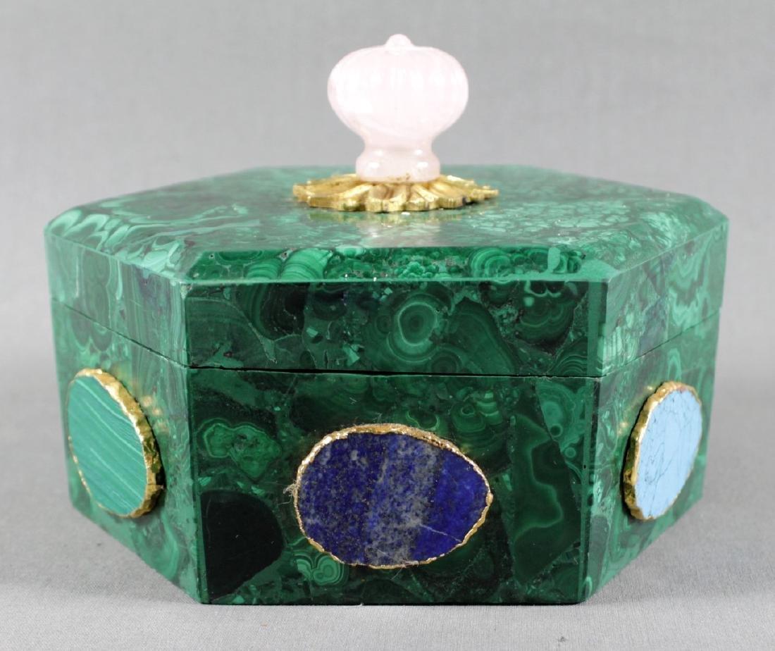 RUSSIAN MALACHITE HEXAGONAL BOX