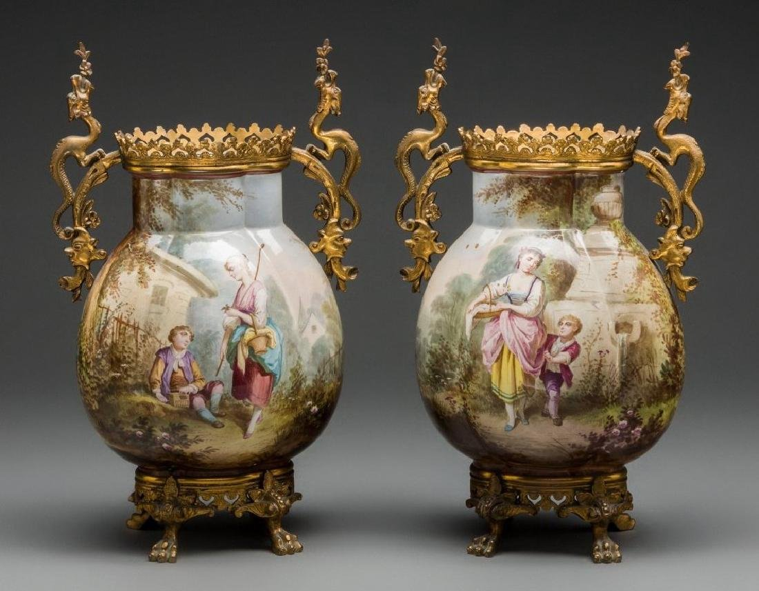 A Pair of French Ceramic and Gilt Bronze Vases, Late