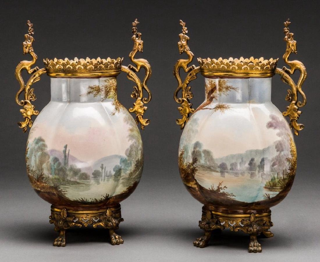 A Pair of French Ceramic and Gilt Bronze Vases, Late - 2