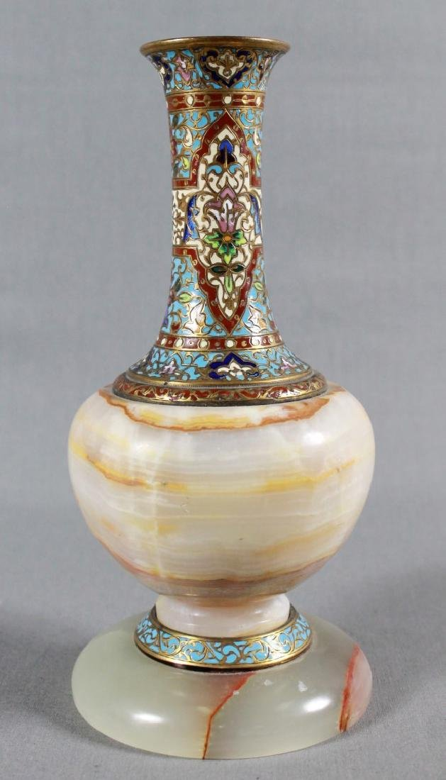 FRENCH CHAMPLEVE ENAMEL AND MARBLE VASE