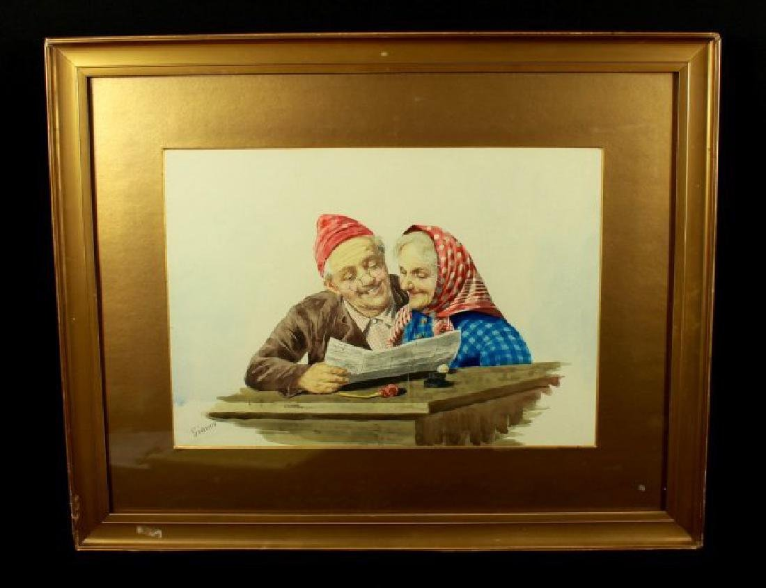 FRAMED PAINTING OF ELEDRLY COUPLE
