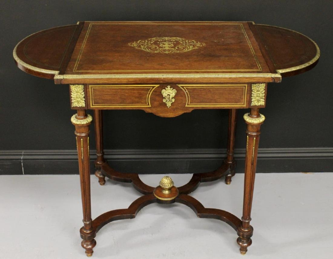 LOUIS XVI STYLE BRASS MOUNTED AND INLAID DROP LEAF