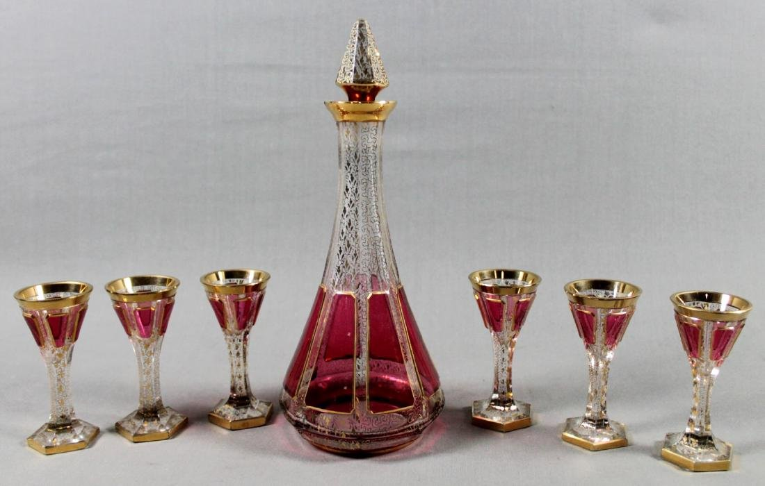 SIX PIECE BOHEMIAN GLASS DRINK SET