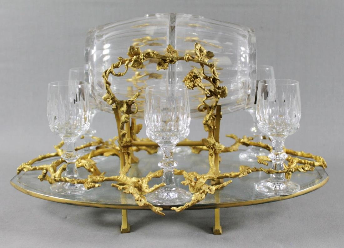 GILT BRONZE AND BACCARAT CRYSTAL LIQUOR SET