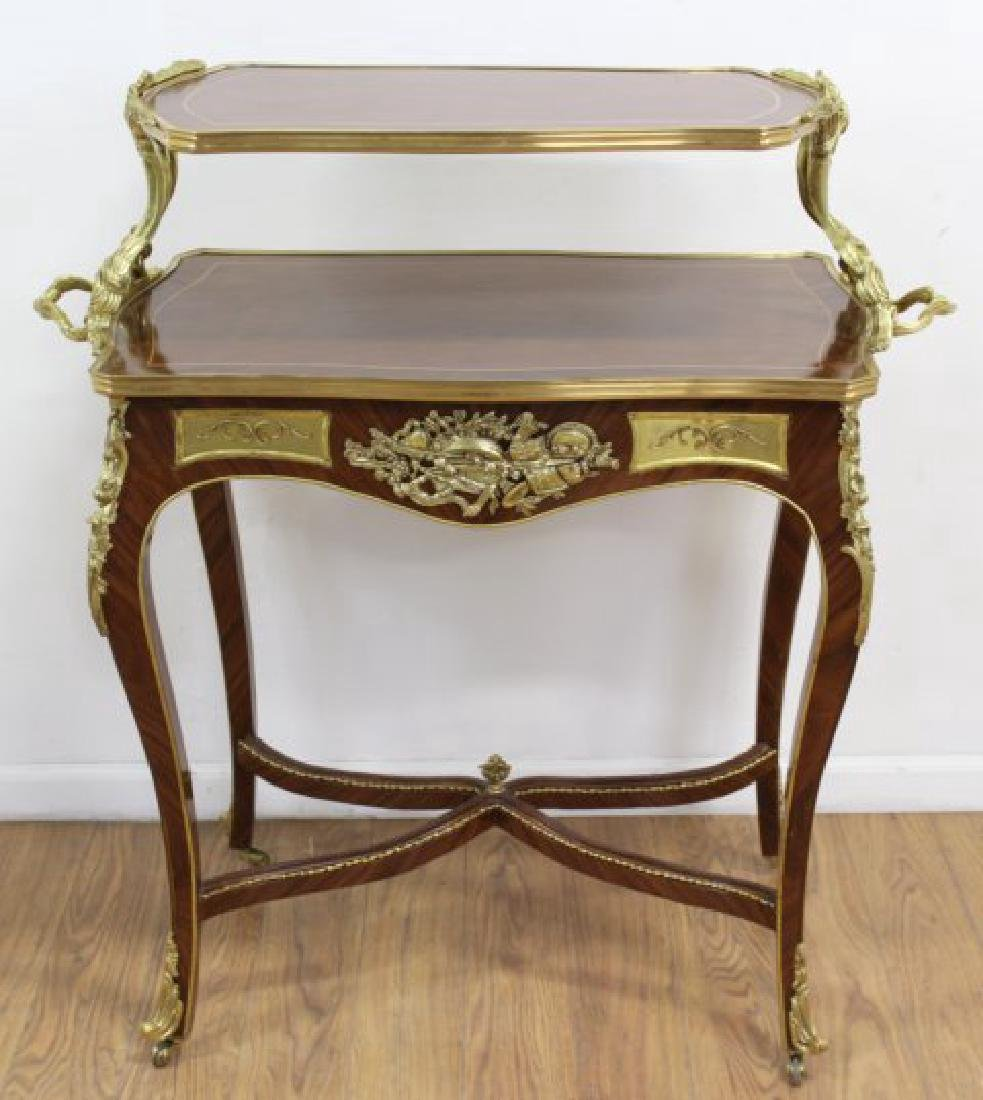 2-Tier Louis XV Style Inlaid Tea Cart