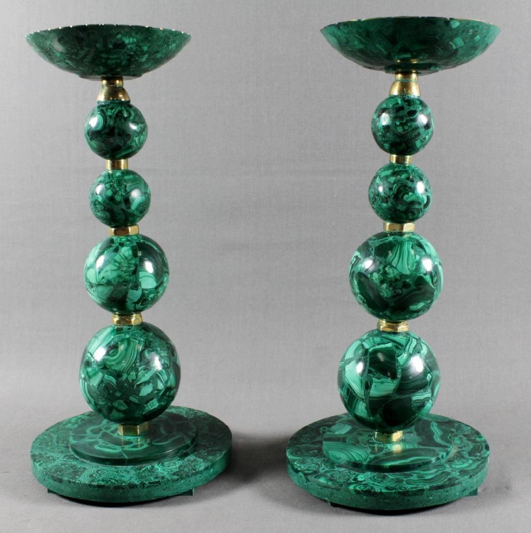 PAIR OF RUSSIAN MALACHITE CANDLESTICKS