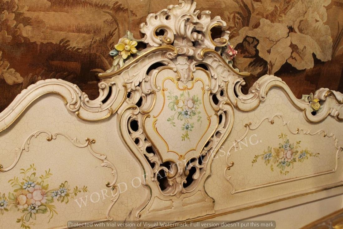 SET OF ANTIQUE HAND PAINTED HEADBOARD AND BASEBOARD BED - 2