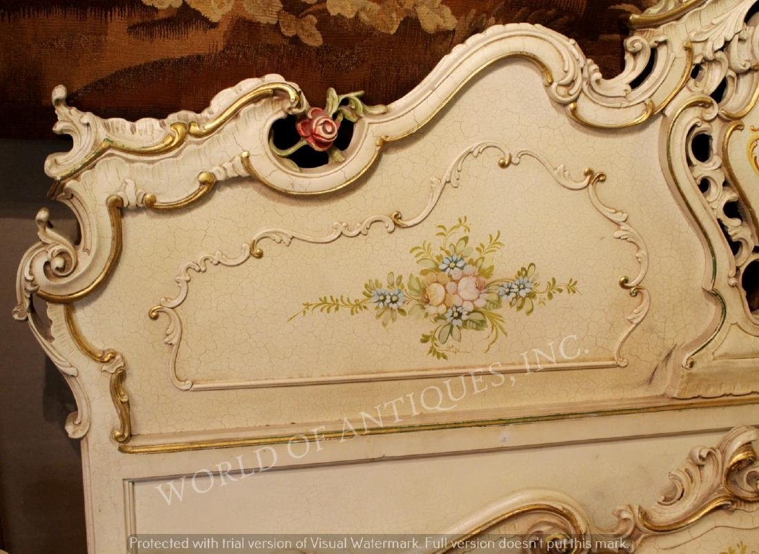 SET OF ANTIQUE HAND PAINTED HEADBOARD AND BASEBOARD BED - 3