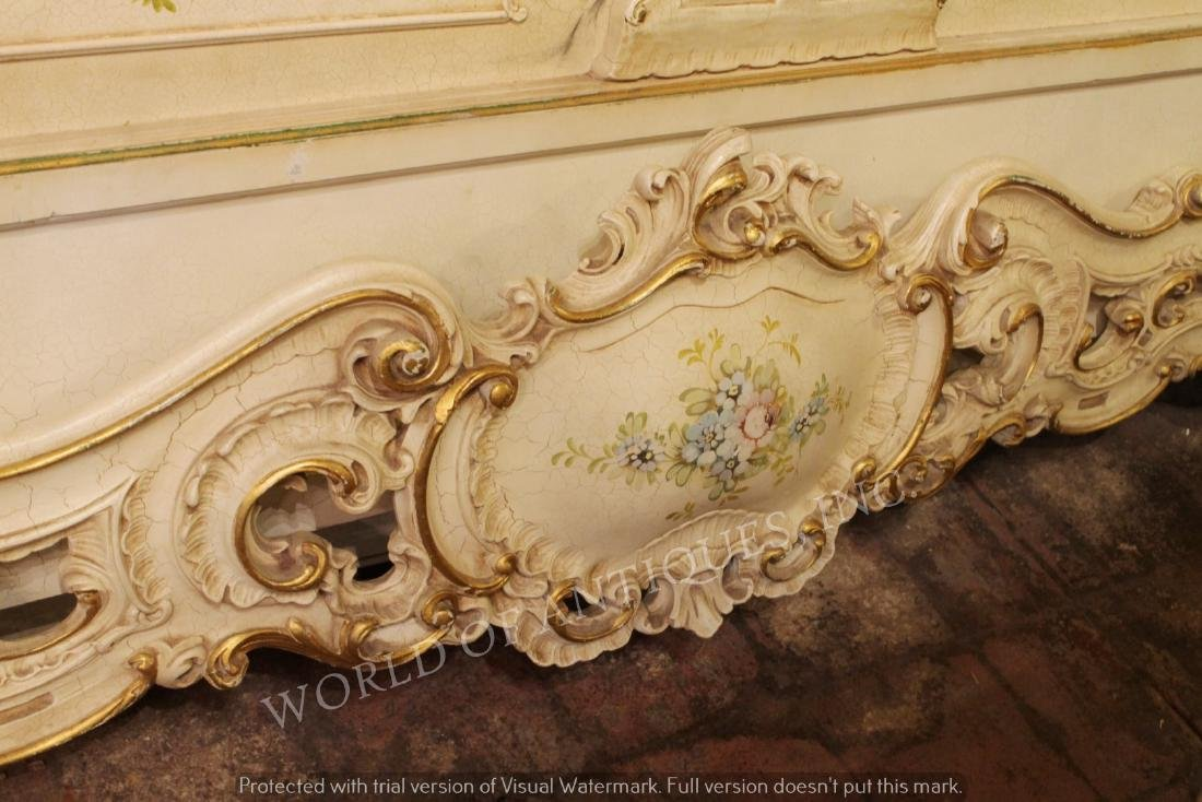 SET OF ANTIQUE HAND PAINTED HEADBOARD AND BASEBOARD BED - 5