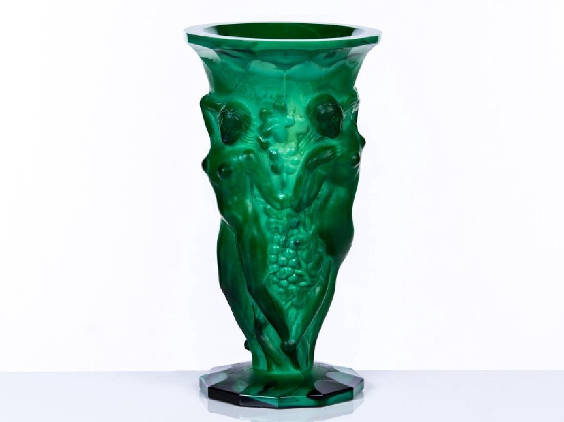 FIGURAL GLASS VASE WITH MALACHITE BASE