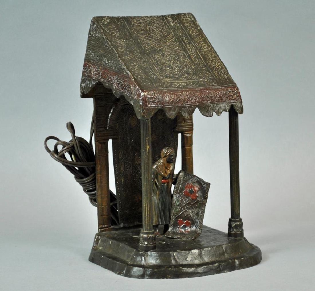 AUSTRIAN COLD PAINTED CAST METAL LAMP