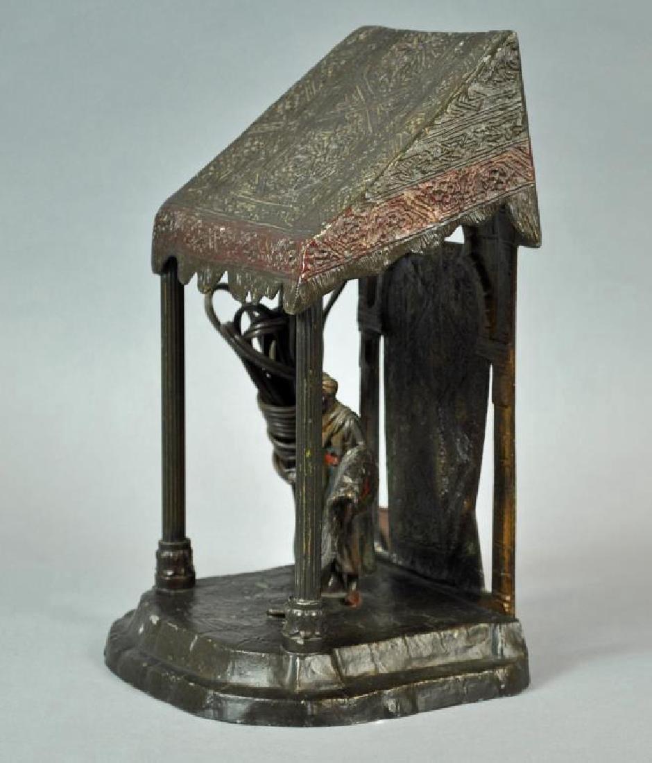 AUSTRIAN COLD PAINTED CAST METAL LAMP - 3
