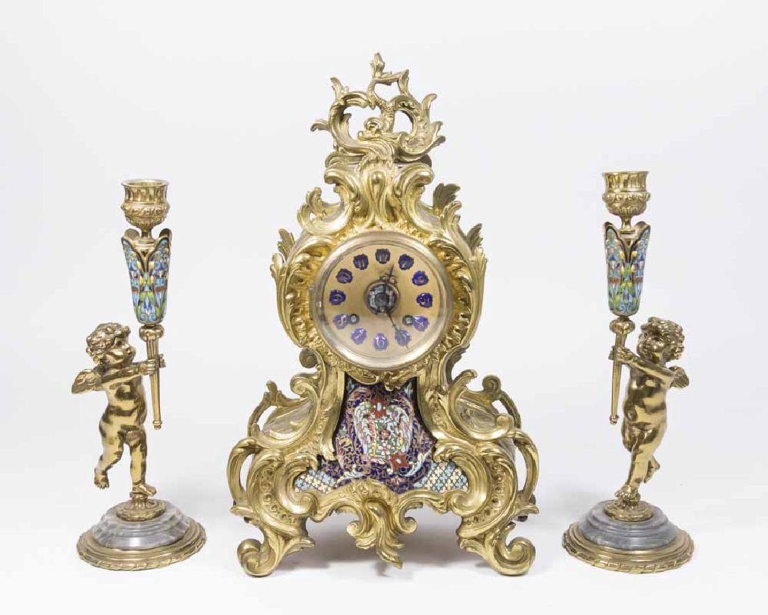 19TH CENTURY 3 PC. BRASS AND ENAMEL CLOCK SET