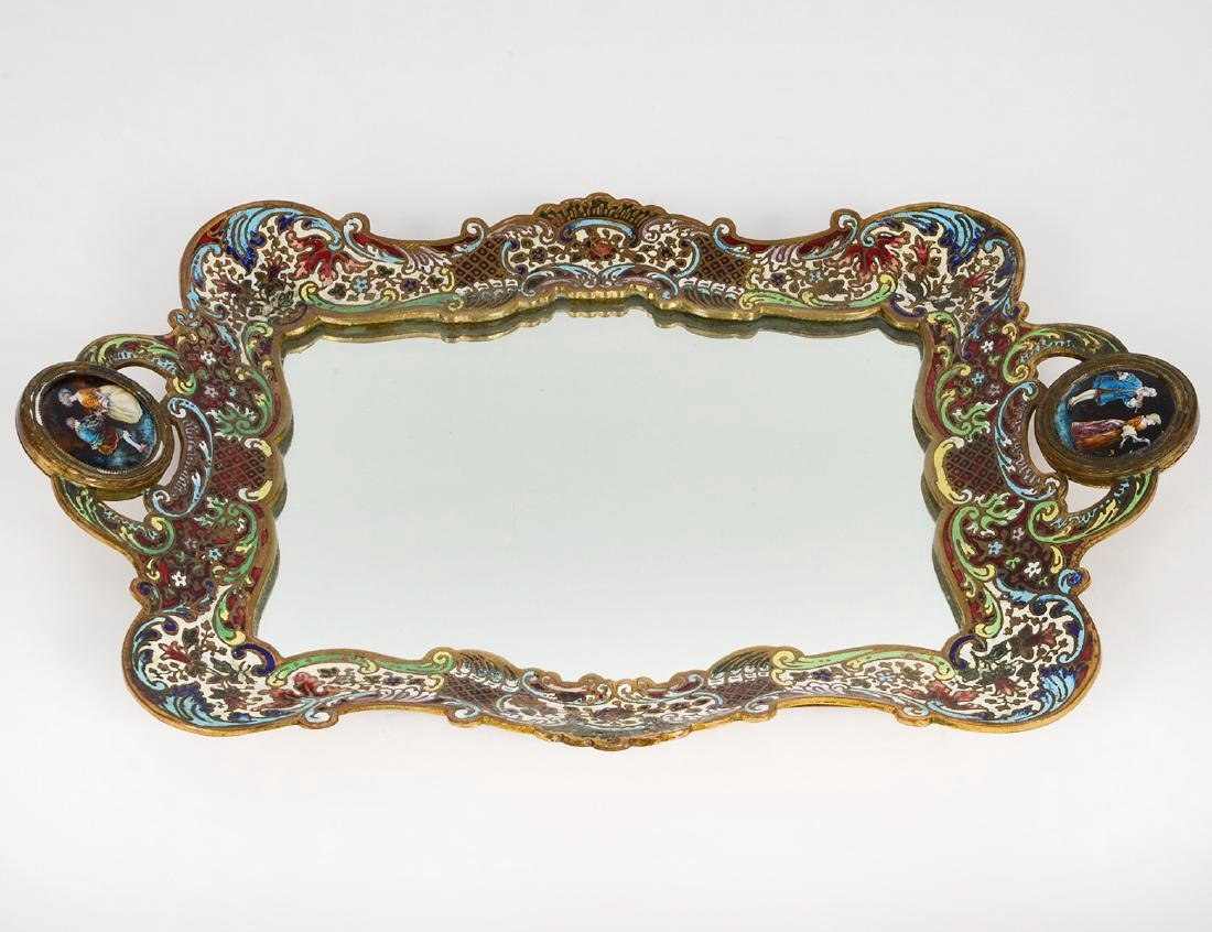 FRENCH CHAMPLEVE ENAMEL AND BRONZE DRESSING TRAY