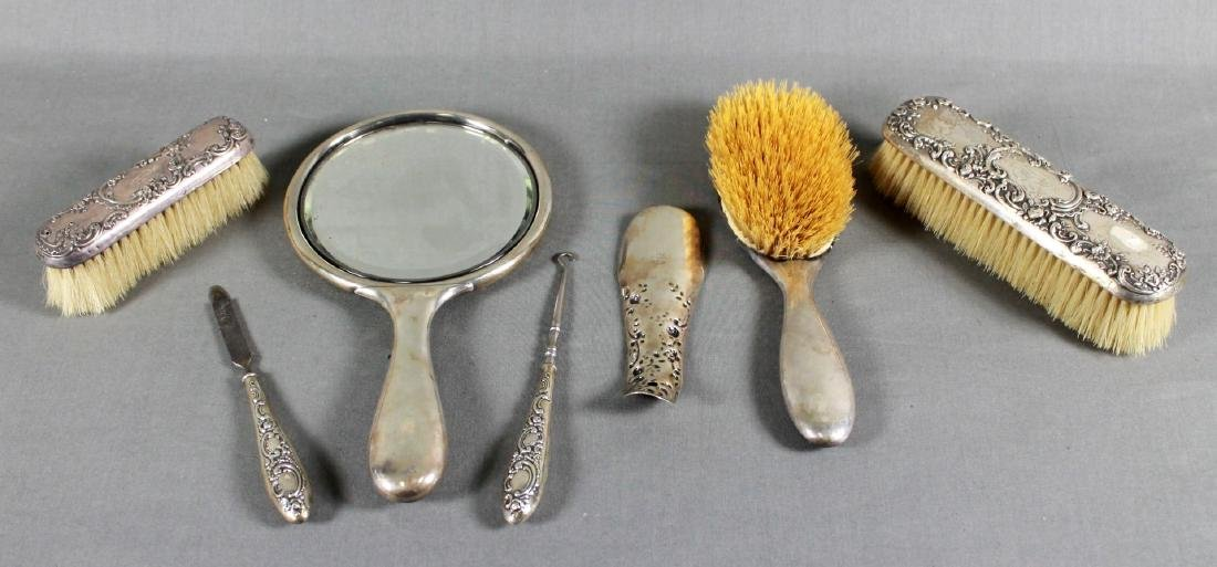 7 PC . STERLING SILVER DRESSER SET