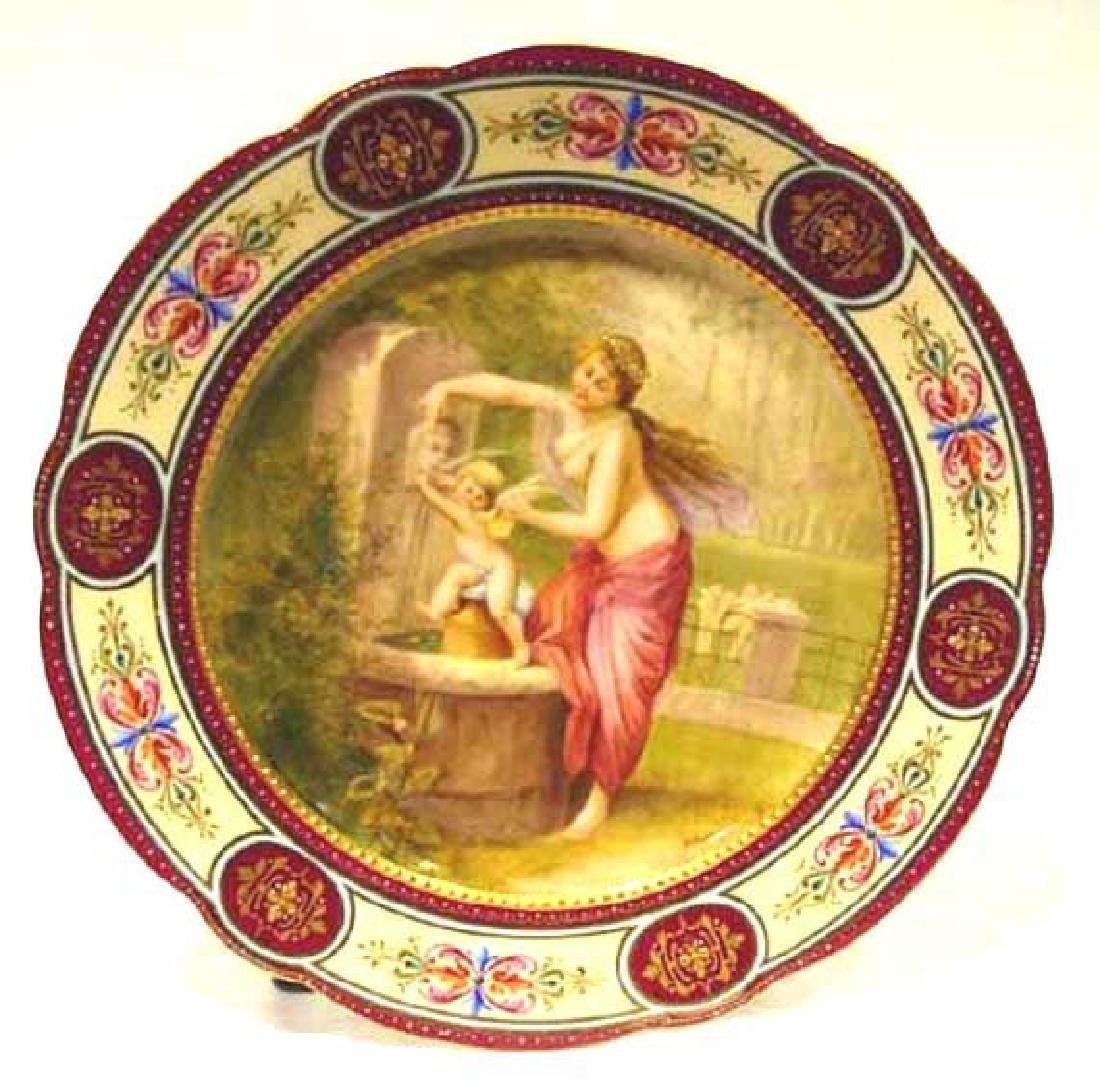 19th C Royal Vienna Enameled Plate signed