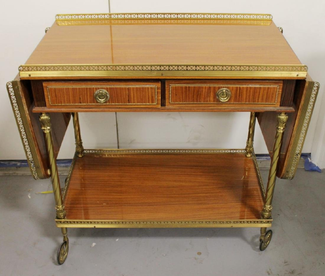 MAHOGANY AND BRASS TEACART