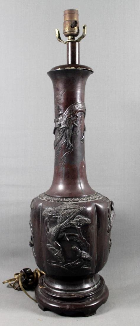 CHINESE BRONZE FIGURAL LAMP
