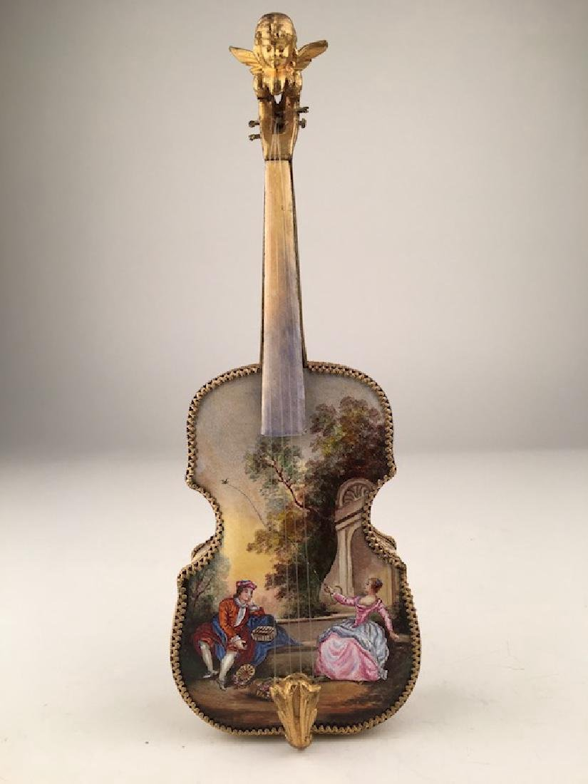 MAGNIFICENT 19TH C. AUSTRIAN ENAMELED VIOLIN MUSIC BOX