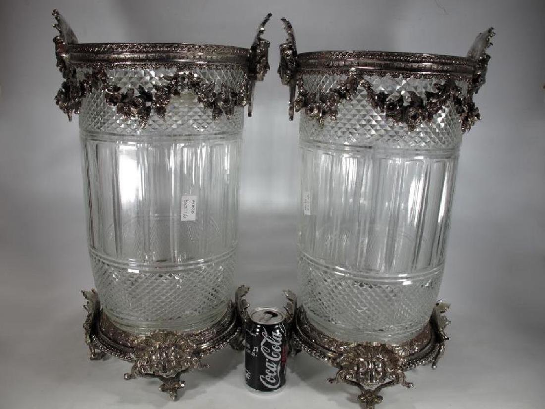 Signed Baccarat pair of glass & silverplated bronze