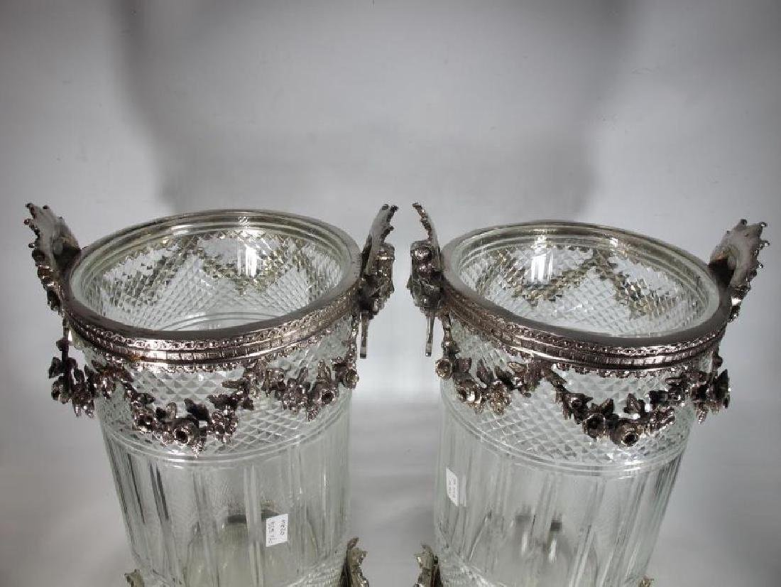 Signed Baccarat pair of glass & silverplated bronze - 2