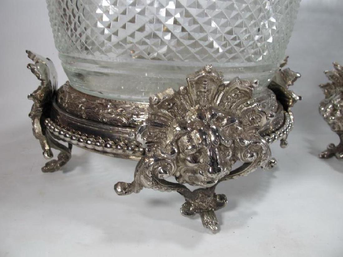 Signed Baccarat pair of glass & silverplated bronze - 3
