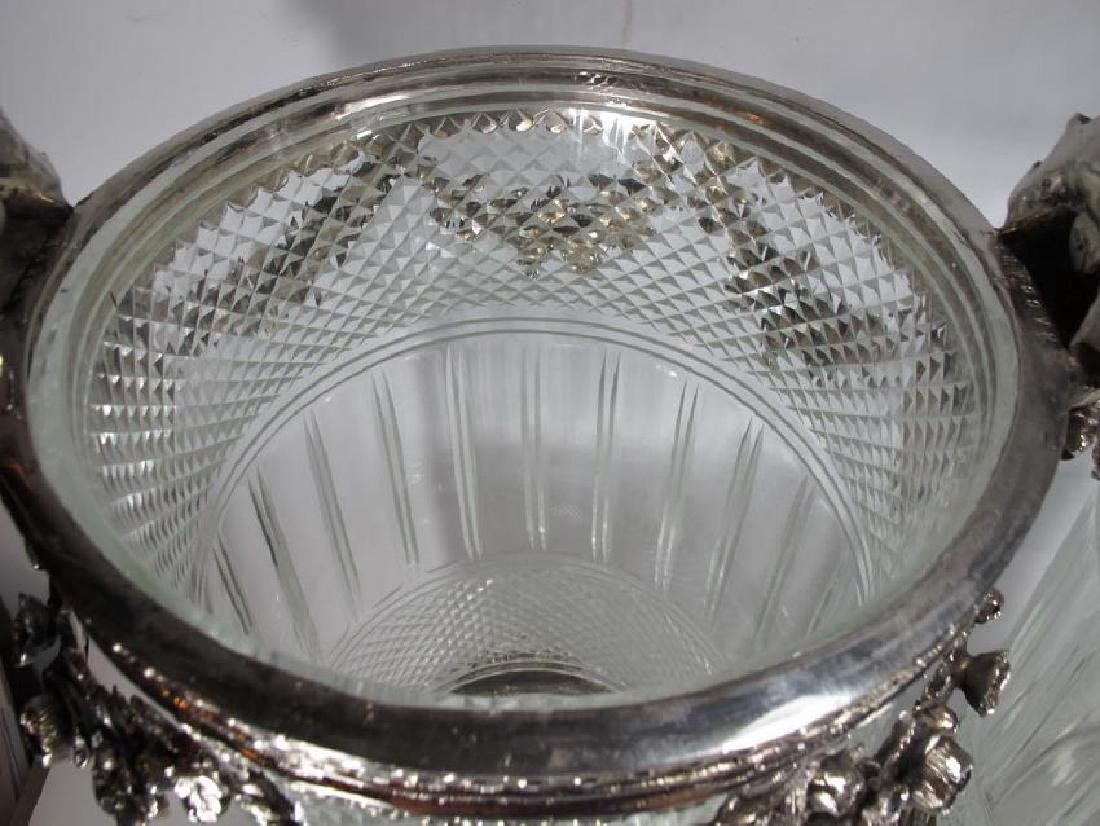 Signed Baccarat pair of glass & silverplated bronze - 5