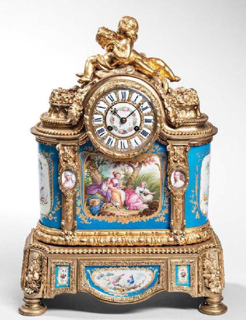 Sevres-type Porcelain-mounted Gilt-bronze Mantel Clock,