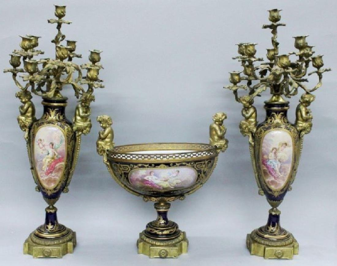 3 PIECE 19TH CENTURY SEVRES CANDELABRA SET
