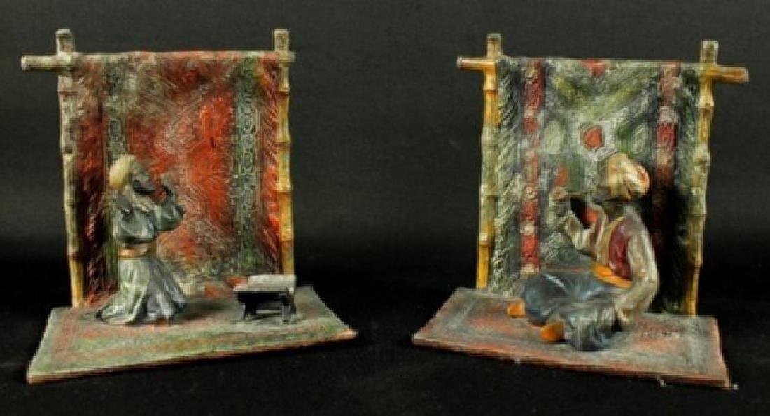 Pair Of Cold Painted Enamel Figures