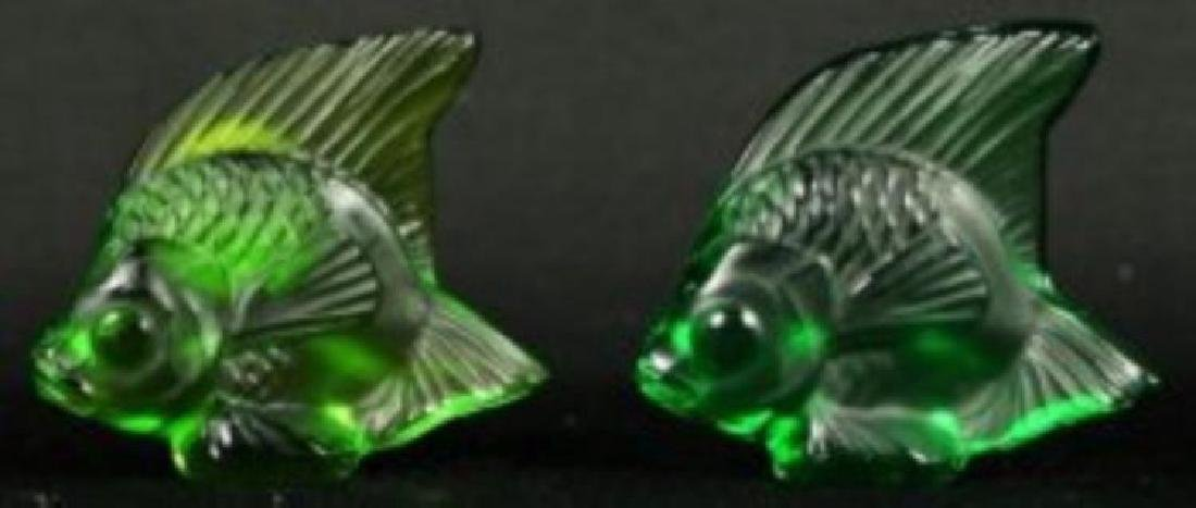 PAIR OF LALIQUE CRYSTAL FISH (GREEN)