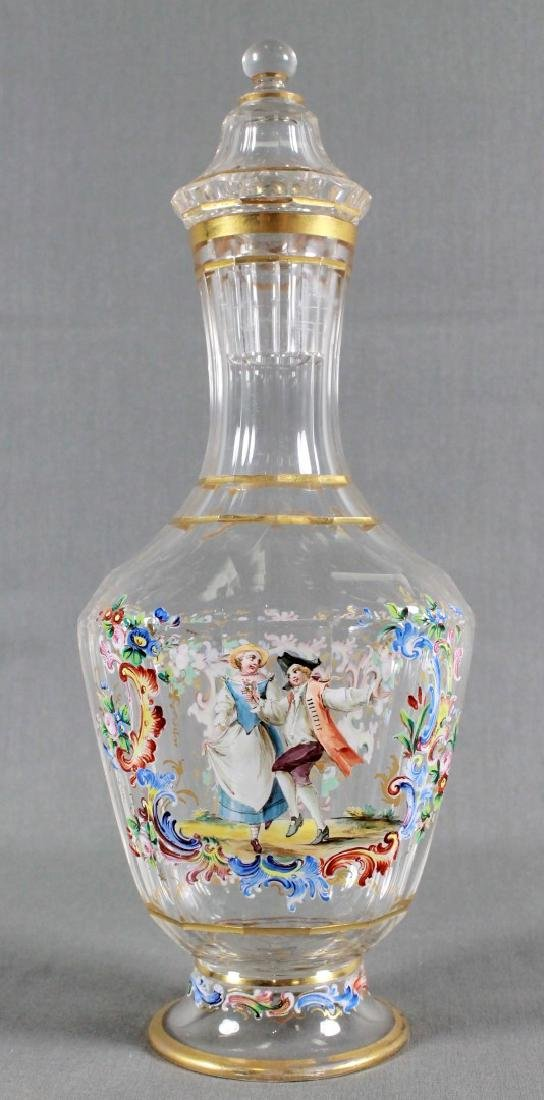 LOBMEYR ENAMELED BOTTLE WITH COVER