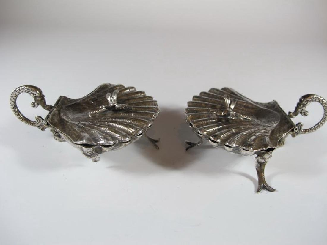 Antique pair of sterling shell miniature trays