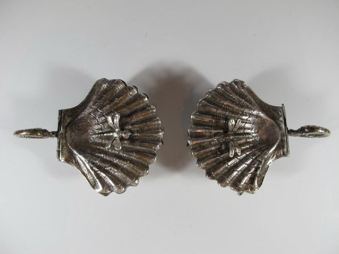 Antique pair of sterling shell miniature trays - 2