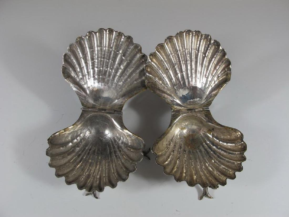 Antique pair of sterling shell miniature trays - 3