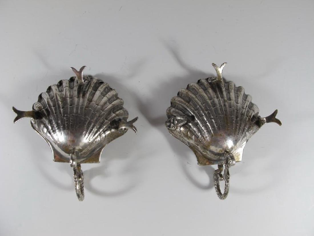 Antique pair of sterling shell miniature trays - 4