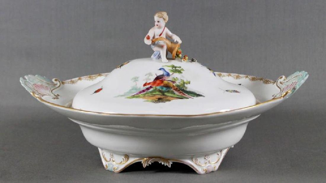 "ANTIQUE 13 1/2"" MEISSEN FIGURAL COVERED BOWL"