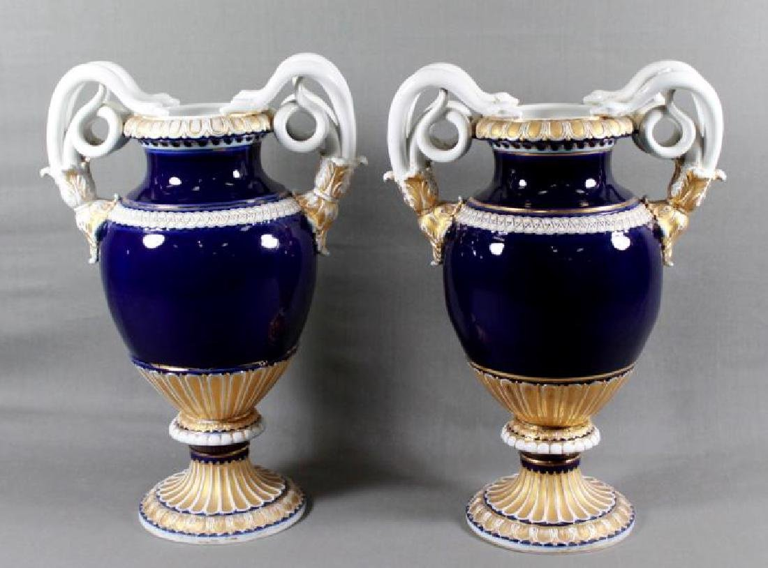 Pair of 19th C. Large Meissen Cobalt blue vases With