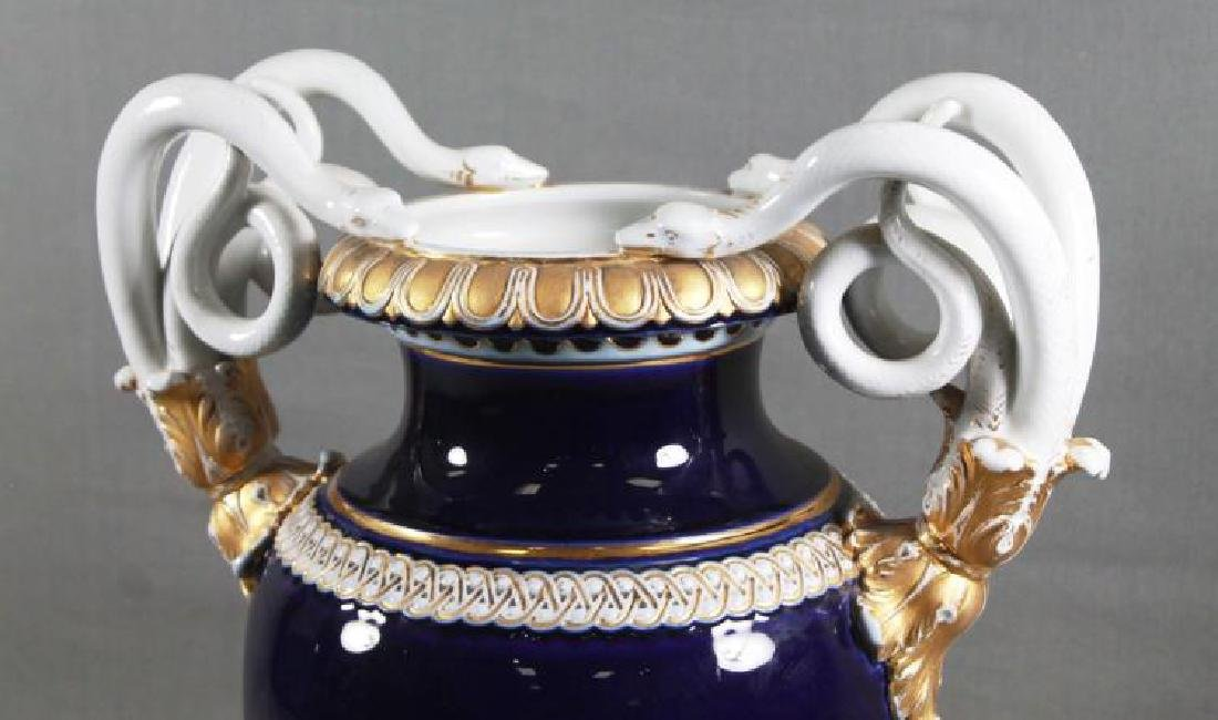 Pair of 19th C. Large Meissen Cobalt blue vases With - 3