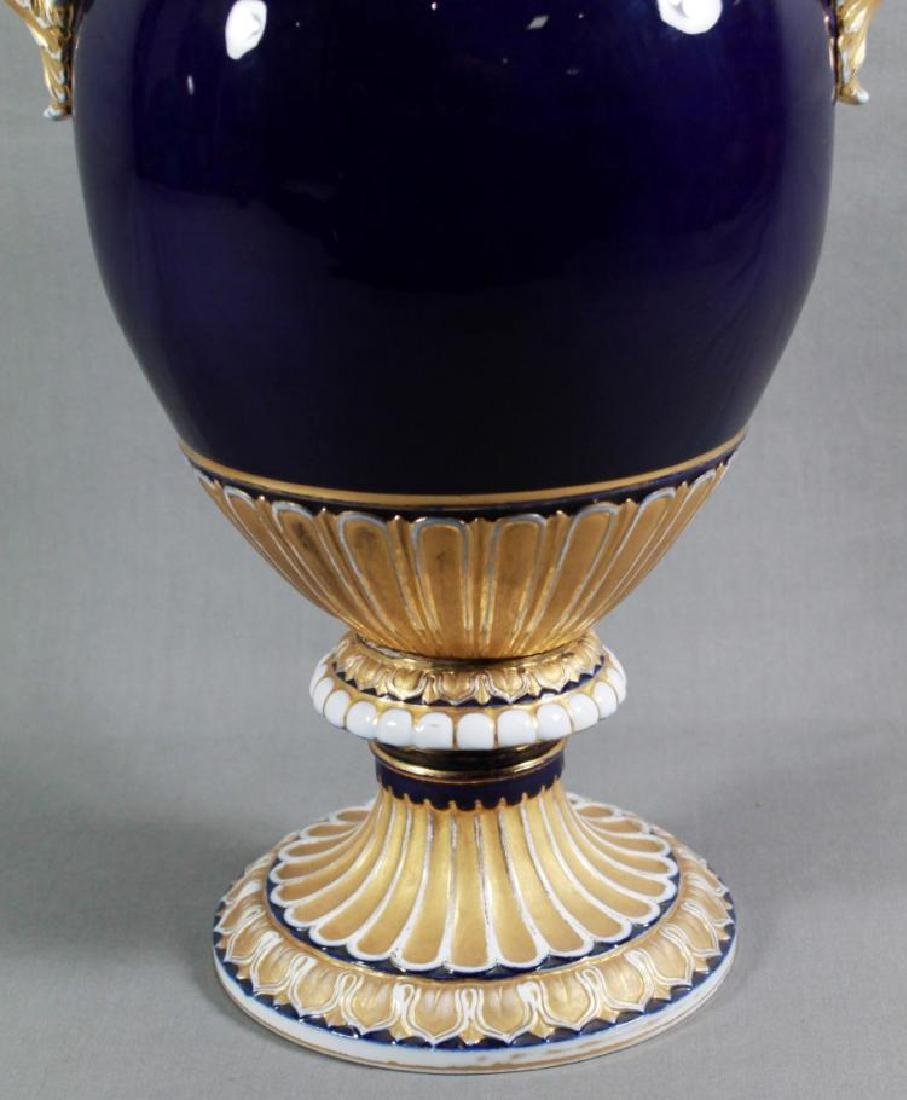 Pair of 19th C. Large Meissen Cobalt blue vases With - 4