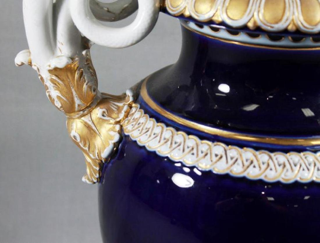 Pair of 19th C. Large Meissen Cobalt blue vases With - 5